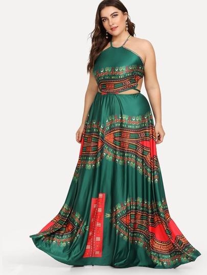 Plus Ornate Print Lace Up Backless Dress Sheinsheinside