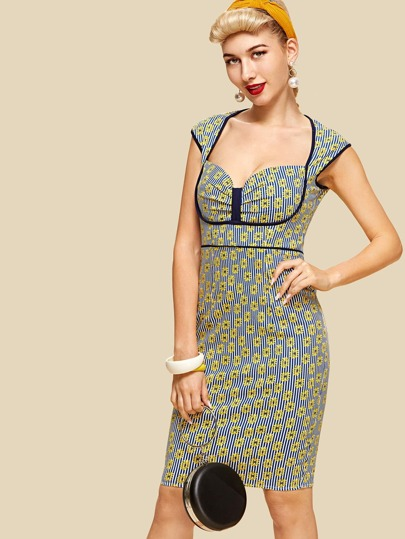 d8e12965185 Chrysanthemum Print Striped Dress