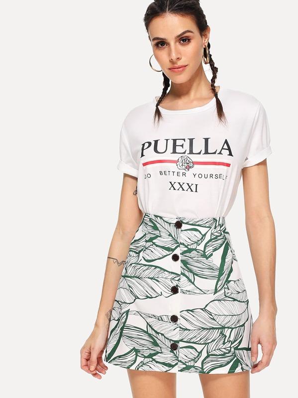 Jungle Leaf Print Button Up Skirt  48283878d