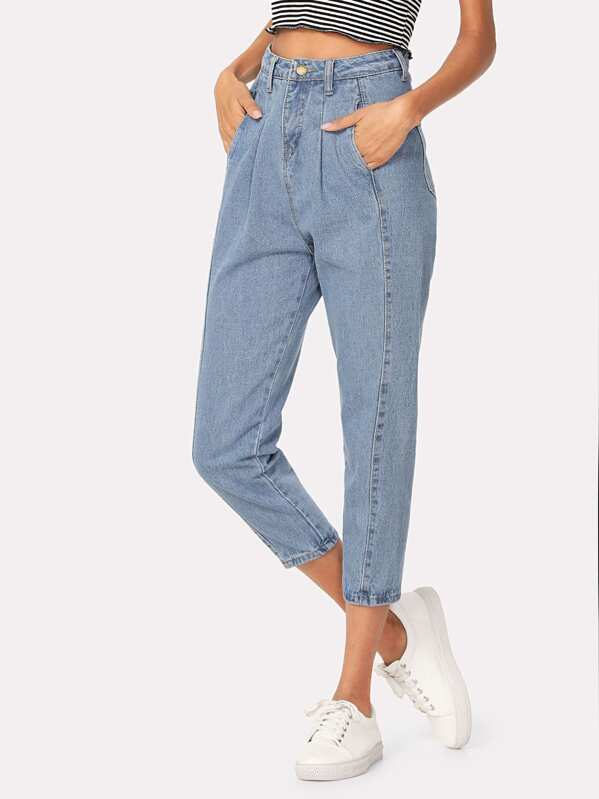 Pleated Detail Mom Jeans, Blue, Andy