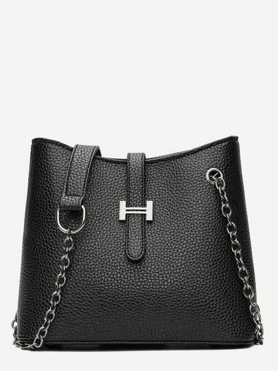 Pebble Detail Chain Shoulder Bag 696edf72714d