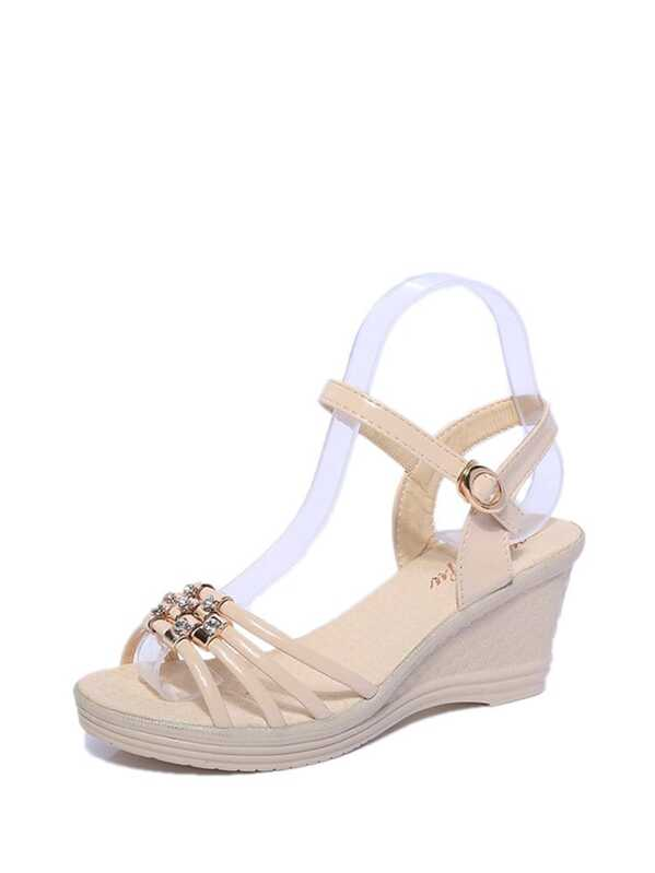 b638f3a70ebf81 Buckle Strap Wedge Sandals -SHEIN(SHEINSIDE)