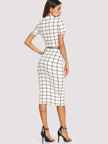 503ca7f9d24 Mock Neck Grid Crop Top   Pencil Skirt Set
