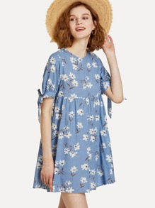 1013d88937ca1 Knot Cuff Keyhole Back Floral Dress   SHEIN UK