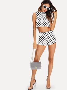f1f922d94f1efb Polka Dot Sleeveless Top And Shorts Set