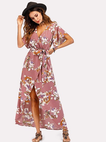 Robe imprimée fleuri avec ceinture -French SheIn(Sheinside) b6439c0a338