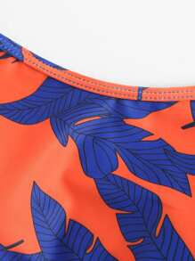 da0a4127d2da2 Tropical Print Long Sleeve Two Piece Swimwear