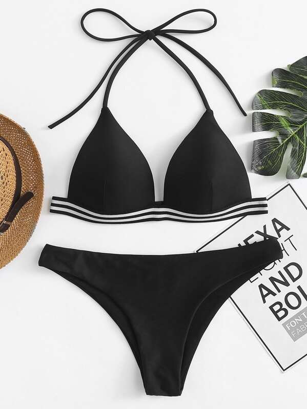 Striped Hem Triangle Bikini Set, Black