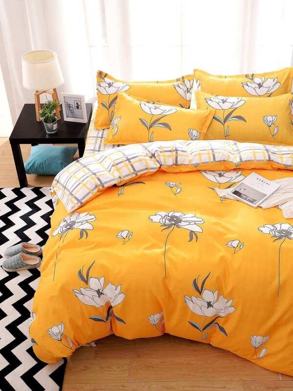Flower print bed sheet set sheinsheinside mightylinksfo