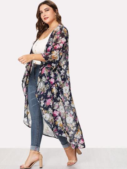 60bdca3d87b Plus Floral Print Open Front Kimono
