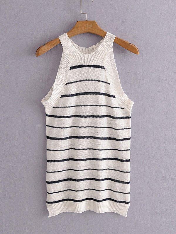 Striped Knit Halter Top -SheIn(Sheinside)