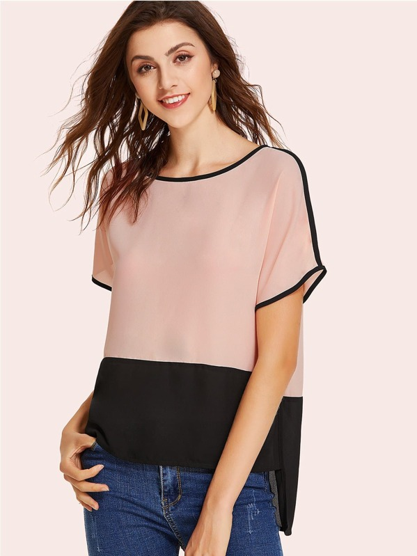 Two Tone Stepped Hem Blouse by Shein