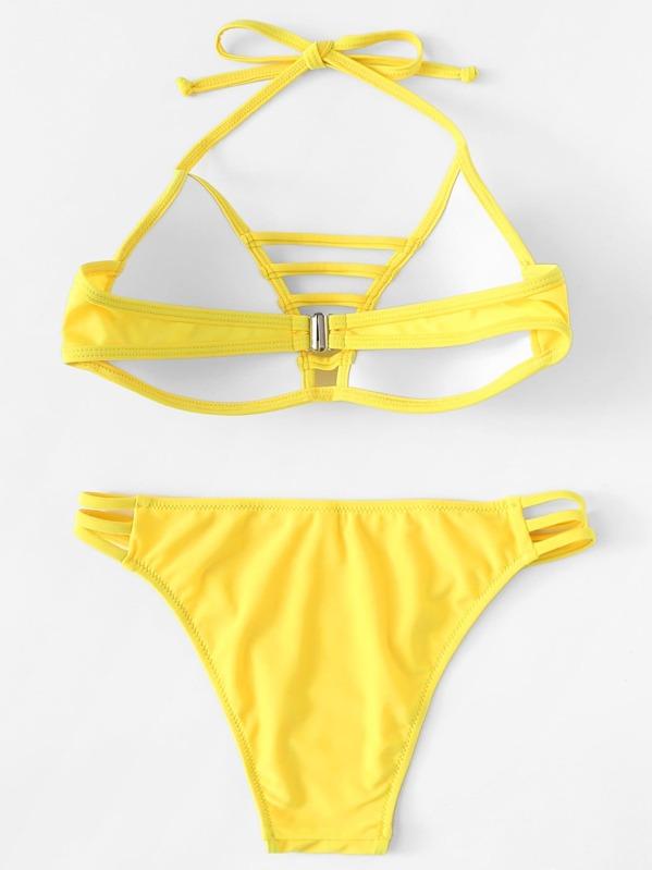 Slätt Knut Bikini Gul Badkläder -Svenska SHEIN(SHEINSIDE) 2116aa996131d