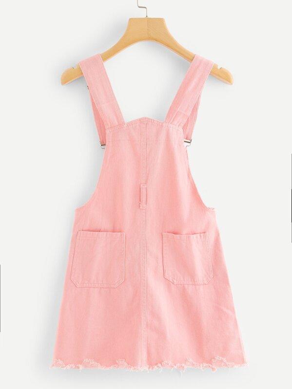 17502634f2d Pocket Front Raw Hem Denim Pinafore Dress -SHEIN(SHEINSIDE)