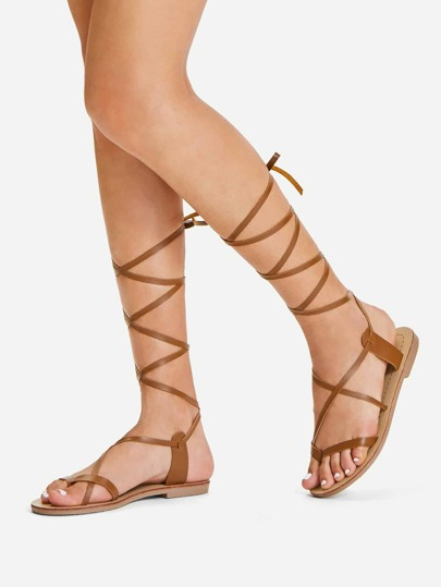 4544d6edc5d Lace Up Knee High Gladiator Sandal Boots -SHEIN(SHEINSIDE)