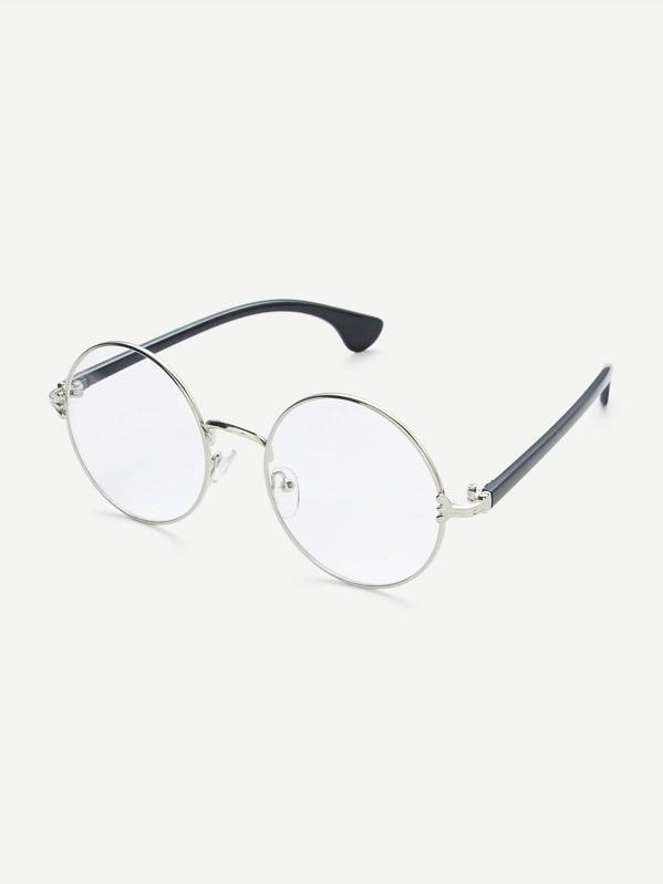 a85cf462e01a Silver Frame Black Arm Clear Lens Glasses -SheIn(Sheinside)