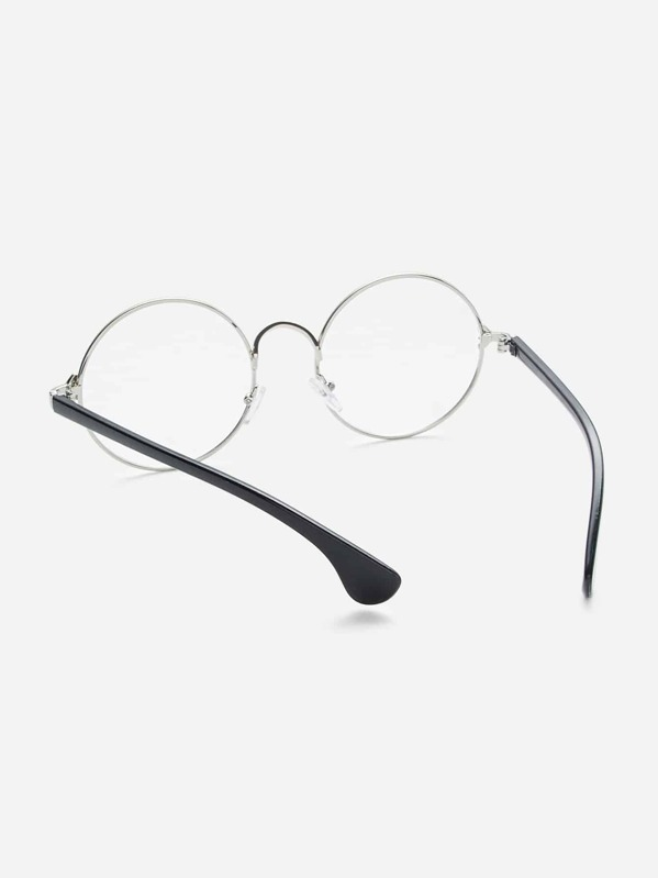 da71c6902185 Silver Frame Black Arm Clear Lens Glasses. AddThis Sharing Buttons