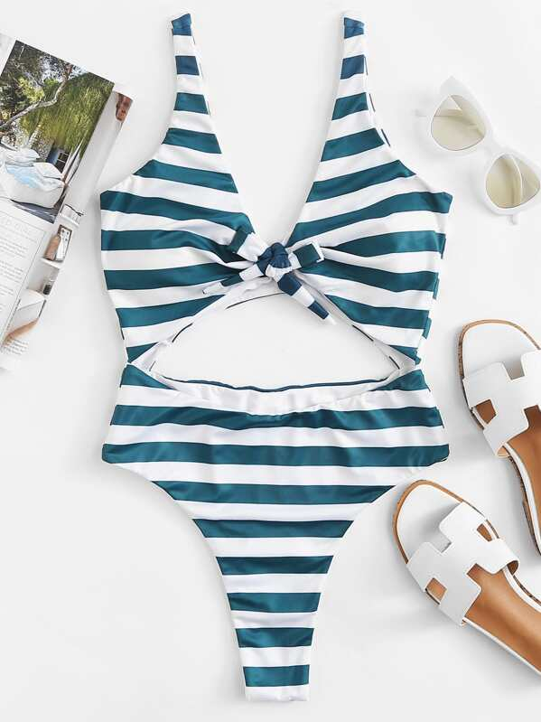 2211fc6a38c Cut Out Knot Striped Swimsuit -SheIn(Sheinside)