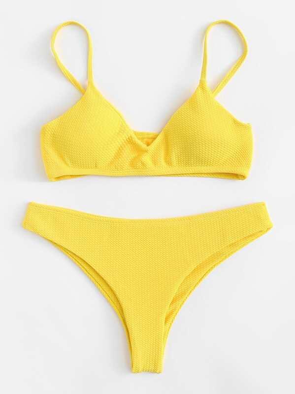 Slätt Bikini Gul Badkläder -Svenska SHEIN(SHEINSIDE) d331e173811f5