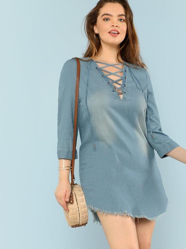 3fa2493885 casual color sólido con cinta azul Vestidos de Talla Grande-Spanish  SheIn(Sheinside)