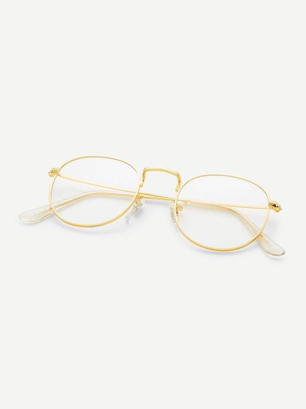 Lunettes de soleil monture doré verre transparent -French SheIn(Sheinside) 8101df7ae69f