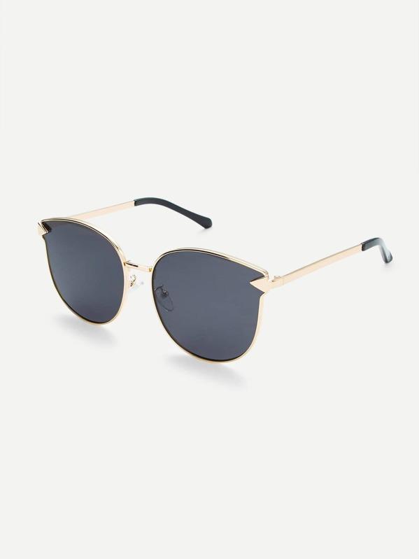 Metal Frame Flat Lens Sunglasses -SheIn(Sheinside)
