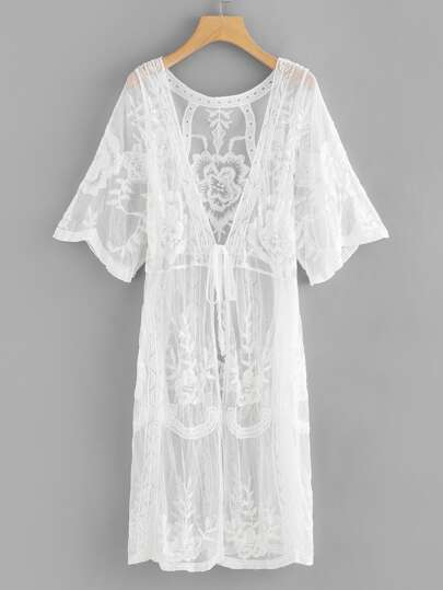 137bc8e28538c Lace Knot Front Long Cardigan