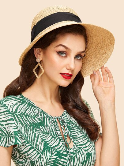 Contrast Bow Straw Hat  8ee506382b9
