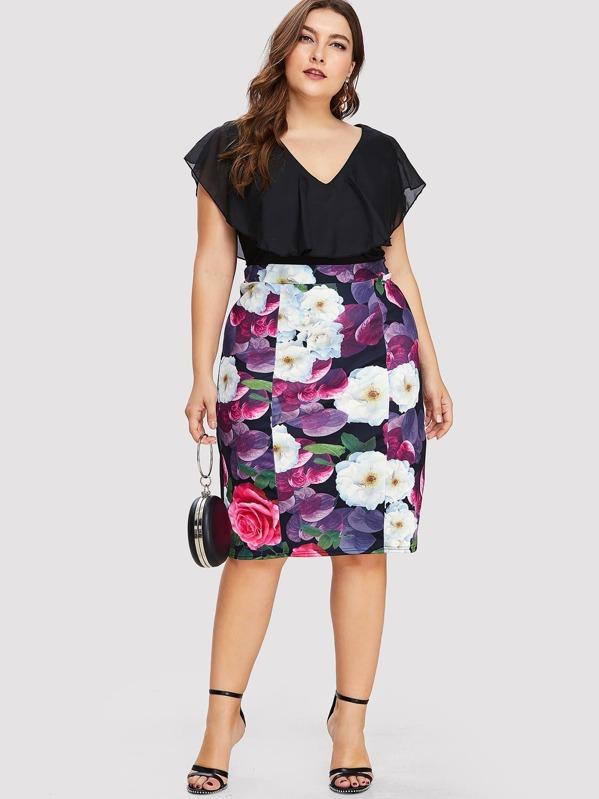 Plus V Neckline Floral Print Dress by Sheinside
