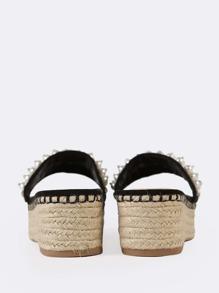 a2f551ee2 Pearl and Gemstone Embellished Espadrille Wedge Mule Sandal