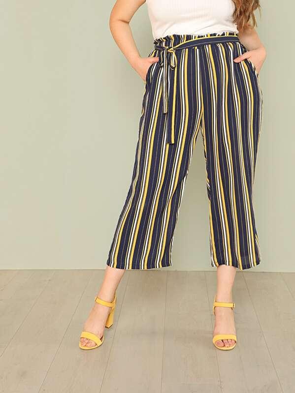7854dcbcdba18 Cheap Plus Self Belted Vertical Striped Pants for sale Australia