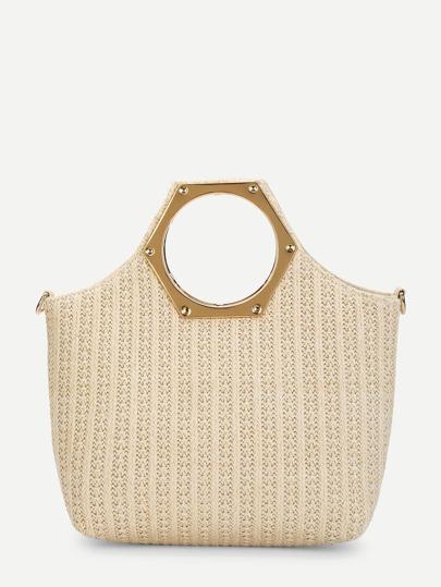 77c15ac293 Metallic Handle Woven Tote Bag