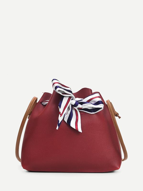 163c05e0e9 Drawstring Bow Tie Shoulder Bag -SheIn(Sheinside)