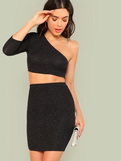 c9bc5d7b81626 One Shoulder Crop Glitter Top   Skirt Co-Ord