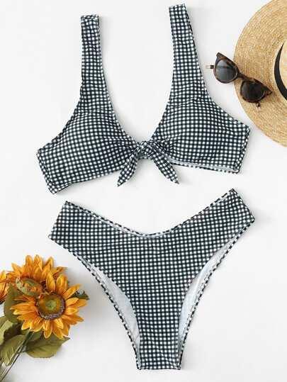fe96c5b7e3 Plus Gingham Knot Front Top With High Cut Bikini
