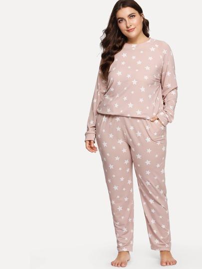 d23b2a0b3e Plus Star Print Top   Pants PJ Set