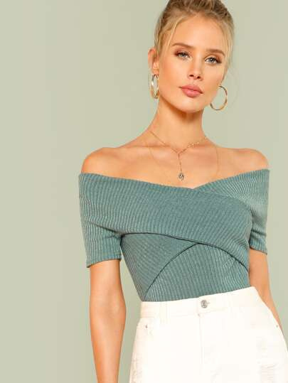 Wrap Design Bardot Ribbed Top