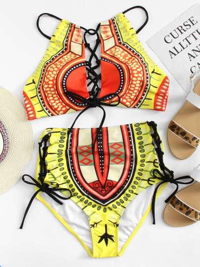 84a456eb4c Plus Criss Cross Top With Lace Up Bikini Set