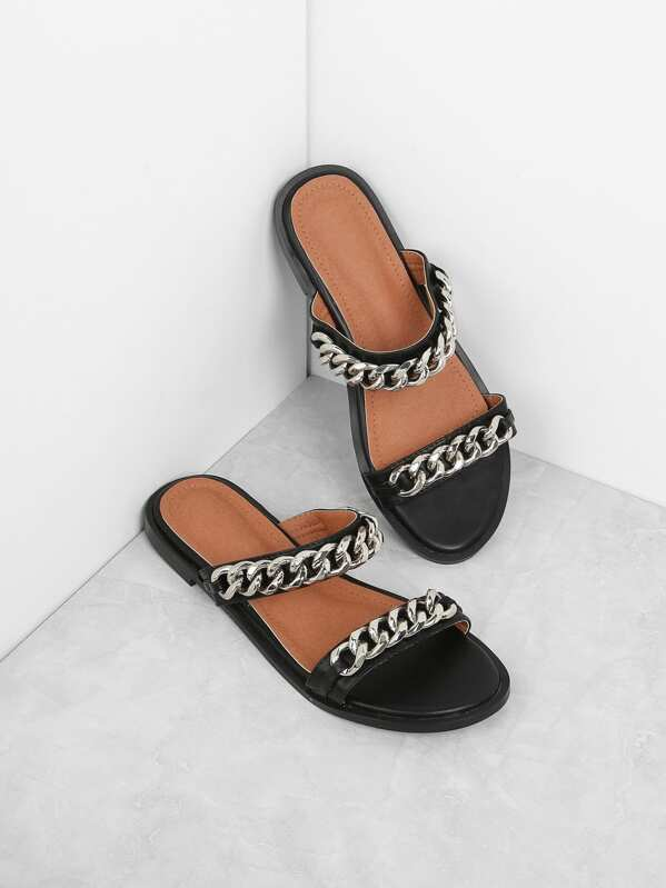 05f0cfa69ca52 Chain Detail Two Strap Sandals -SHEIN(SHEINSIDE)