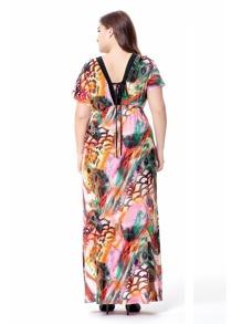 85cd37c3f4 Plus V Cut Back Knot Detail Printed Dress -SheIn(Sheinside)