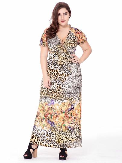 Plus Frill Trim Leopard Print Dress Sheinsheinside
