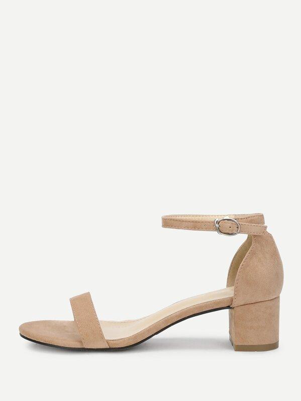 d89b6b011e93 Ankle Strap Two Part Block-Heel Sandals -SHEIN(SHEINSIDE)