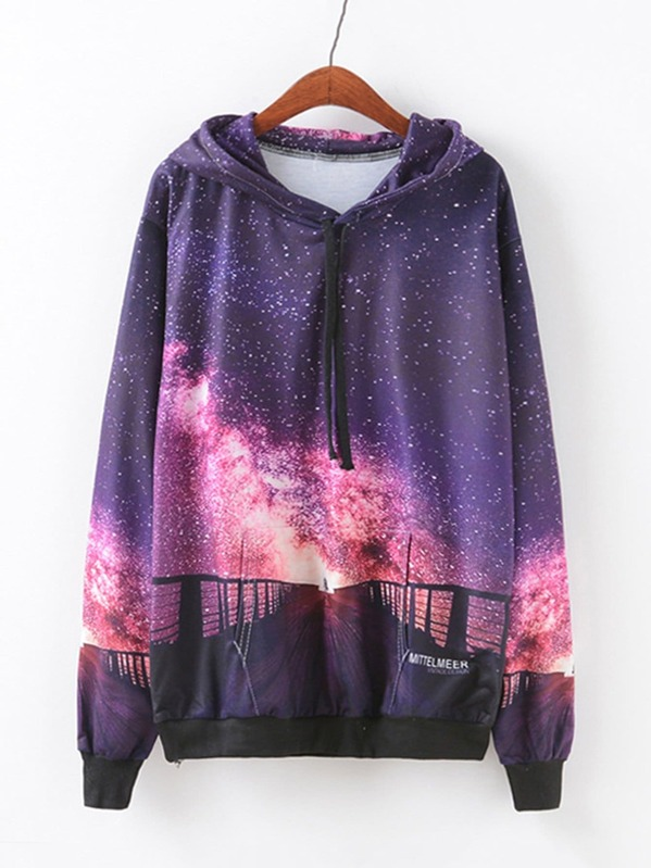 Galaxy Print Drop Shoulder Hoodie, Purple