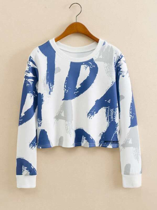 Letter Graffiti Print Crop Sweatshirt, Multicolor