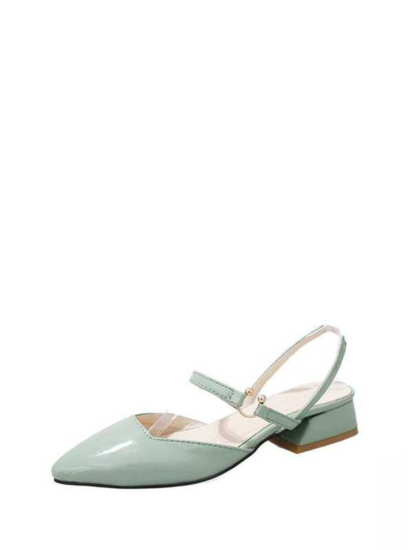 c7f29956aa7 Pointed Toe Slingback Chunky Heels -SheIn(Sheinside)