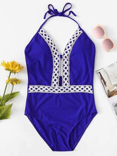 ff8ffef929968 Crochet Lace Trim Plunging One Piece Swimwear
