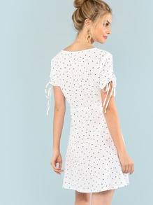 34d2b3af7e4 Cheap Polka Dot Drawstring Sleeve Button Up Dress for sale Australia ...