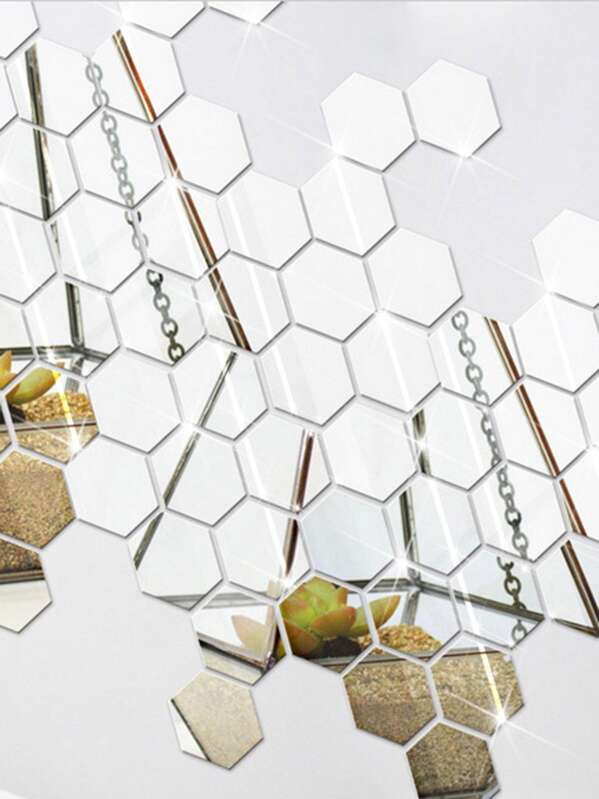 Hexagon Mirror Wall Sticker Set 12pcs Shein Sheinside