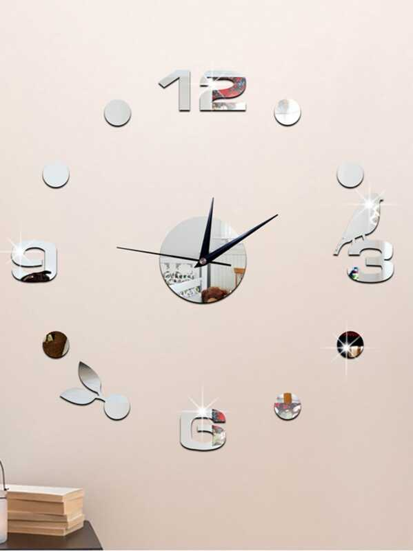 Bird Detail Clock Mirror Wall Sticker 14pcs