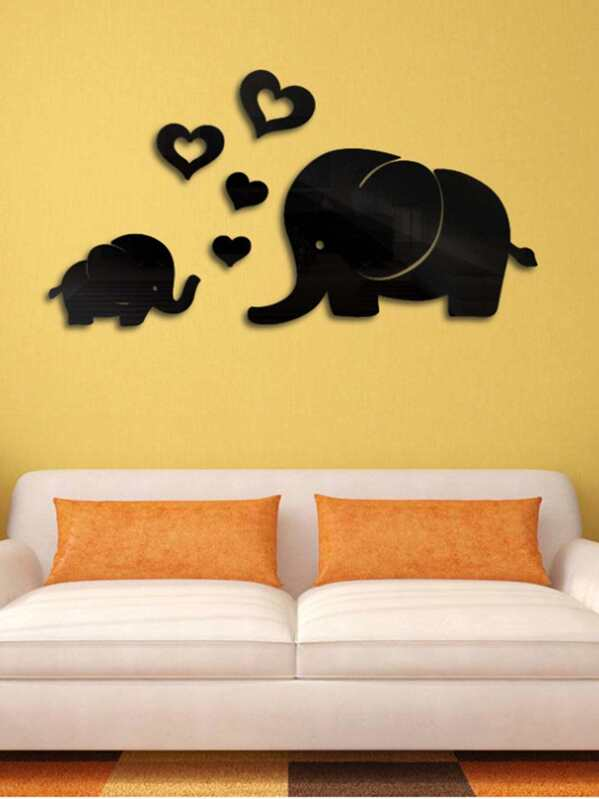 couple elephant mirror wall sticker set 6pcs | shein